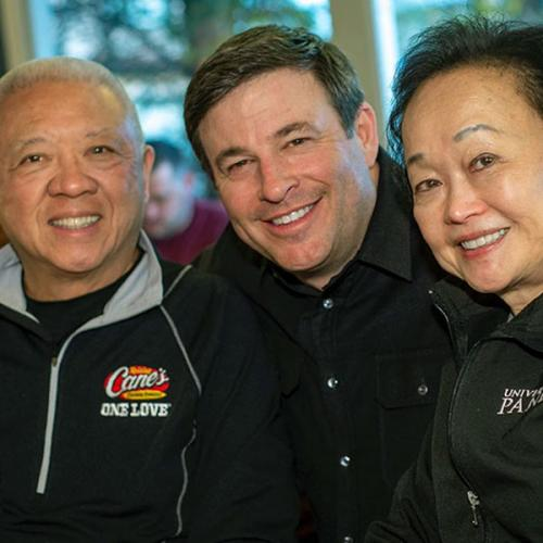 Andrew and Peggy Cherng with Todd Graves
